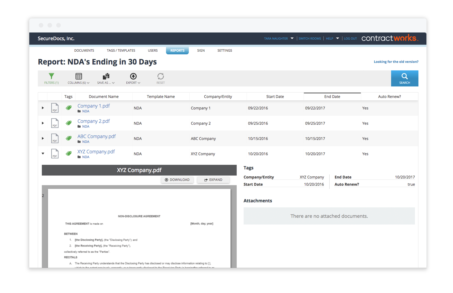 contract management system with custom reporting