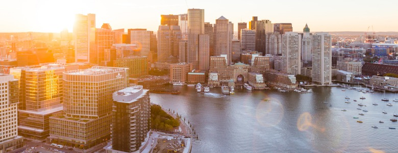 east-boston-waterfront-aerial-sunset-picture-id995696638
